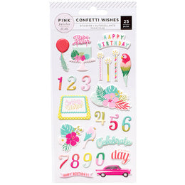 Stickers Relieve Colección Confetti Wishes Pink Paislee