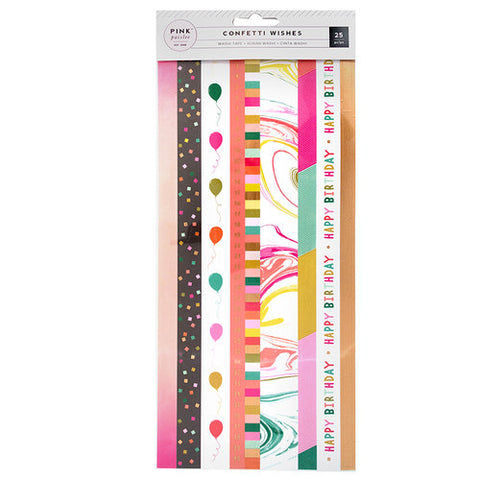 Tiras Adhesivas Washi Tape Colección Confetti Wishes Pink Paislee