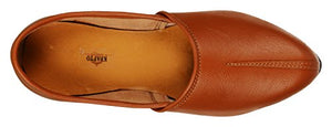 Krafto Men's Orange Split Jalsa Leather Juttis