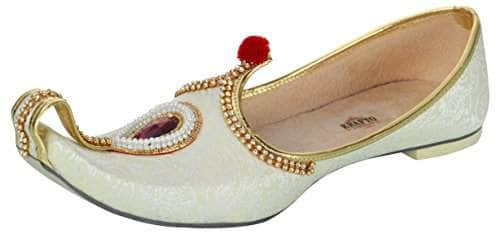 krafto mens cream fabric rhinestone ruby mojaris