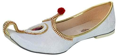 krafto mens white fabric rhinestone ruby mojaris