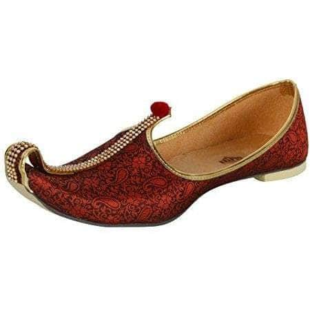 krafto mens red fabric mono rhinestone mojaris