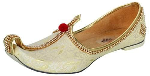 krafto mens light gold fabric tri rhinestone mojaris