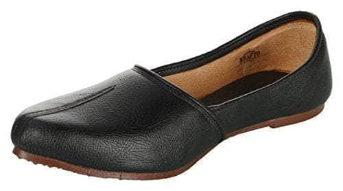 Krafto Men's Black Split Jalsa Leather Juttis