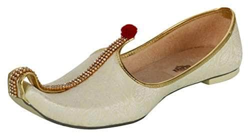 krafto mens cream fabric mono rhinestone mojaris