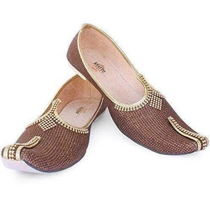 krafto mens sparking brown silk jutti