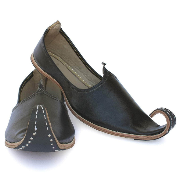 Black Punjabi Leather Men's Khussa Jutti