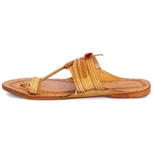 Yellow Leather Men's Pointed Kolhapuri Chappal
