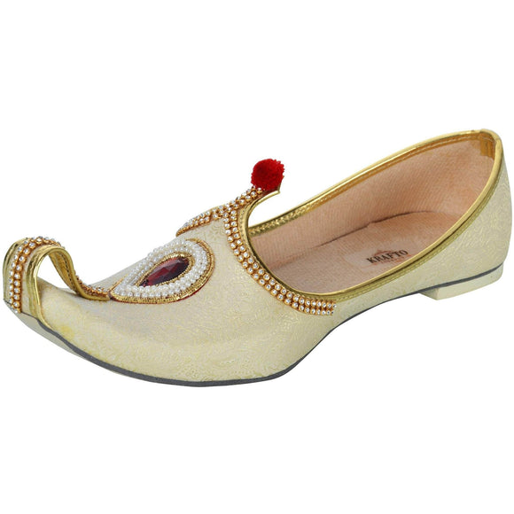 krafto mens beige gold fabric rhinestone ruby mojaris