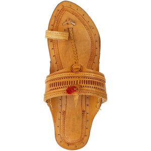 Yellow Leather Men's Kolhapuri Flat Chappal