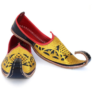 Red Gold Punjabi Leather Men's Khussa Jutti