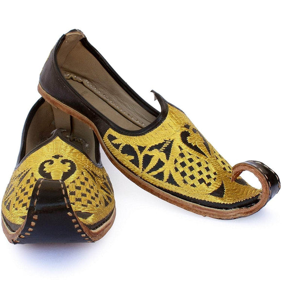 Black Gold Punjabi Leather Men's Khussa Jutti
