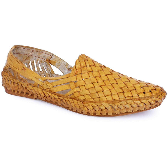 Yellow Interwoven Leather Men's Kolhapuri Jutti