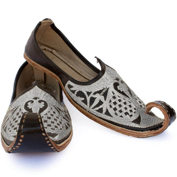 Black Silver Punjabi Leather Men's Khussa Jutti