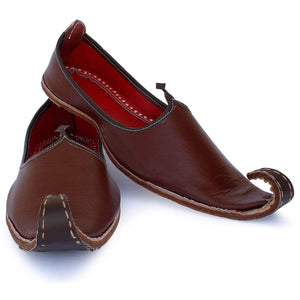 Maroon Brown Punjabi Leather Men's Khussa Jutti