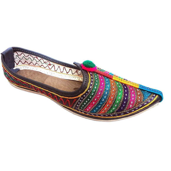 Colorful Strips Embroidary Handmade Women's Jodhpuri Leather Jutti