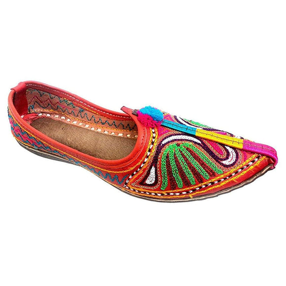 Ember Peacock Embroidary Handmade Women's Jodhpuri Leather Jutti