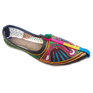 Multicolor Peacock Embroidary Handmade Women's Jodhpuri Leather Jutti