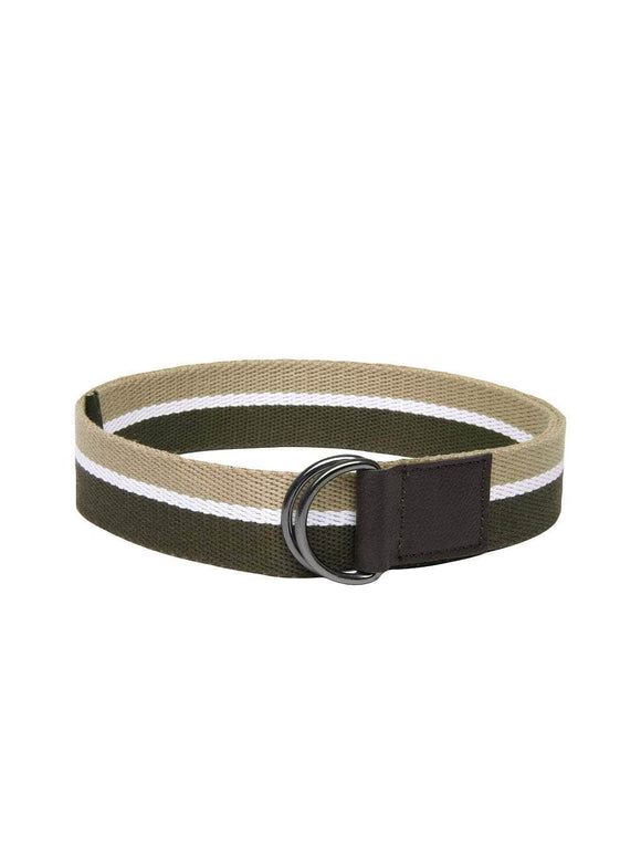 Olive Green & Beige Striped Men's Belt