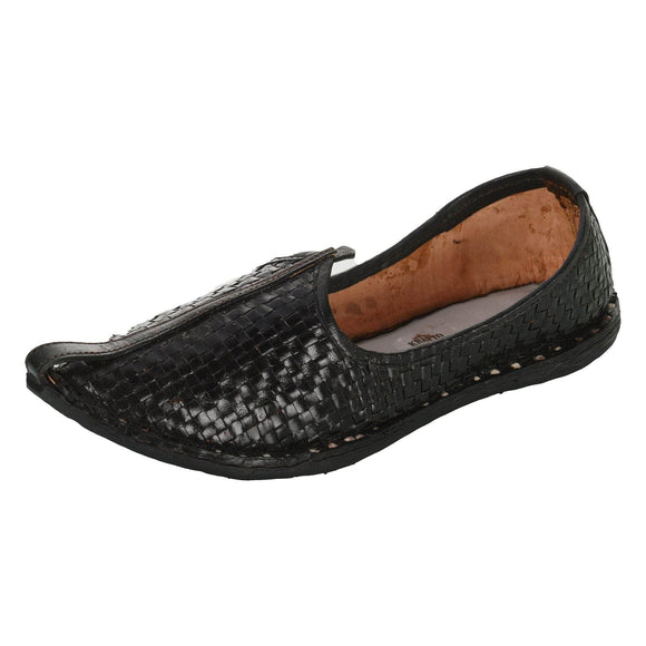 Black Leather Mojri for Men