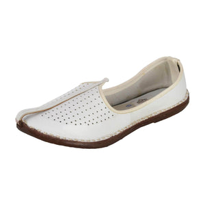 White Leather Mojri for Men