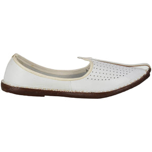 White Handcrafted Leather Boys Mojdi