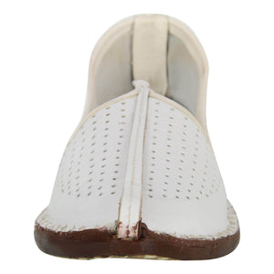 White Handcrafted Leather Mojrai for Man
