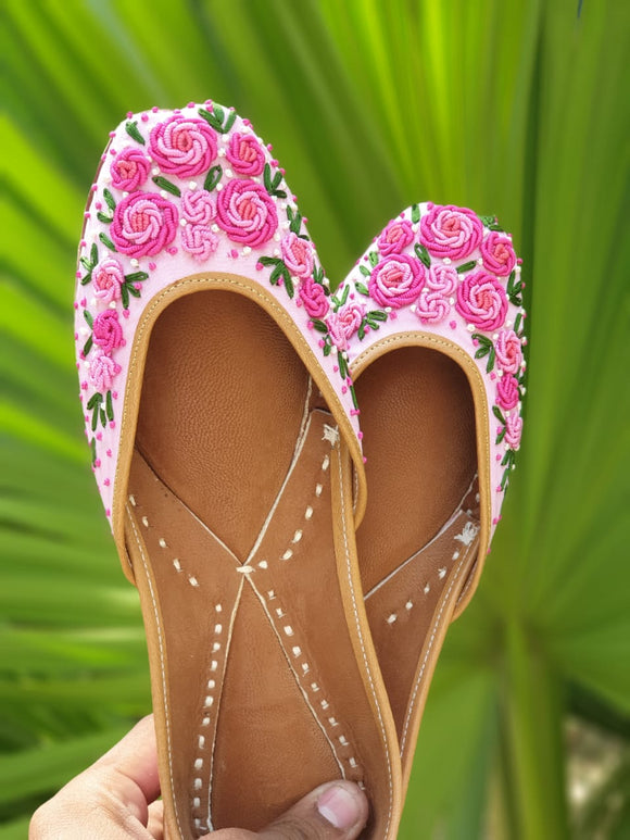 Pink Thread Flowers Handcrafted Women's Punjabi Leather Jutti