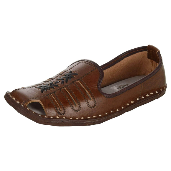 Chocolate Brown Leather Mojri for Men