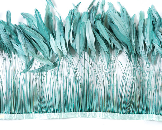 aquamarine stripped cocktail feathers 8 10 inches by the yard