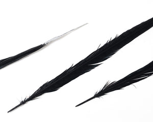 Black with Metallic Silver Tips Ringneck Pheasant Feather Bleached and Dyed 22 inches and up, per 10 pack