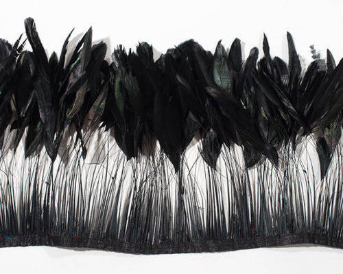 Black Stripped Cocktail Feathers 8-10 inches by the Yard