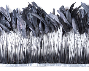 Grey Stripped Cocktail Feathers 8-10 inches by the Yard