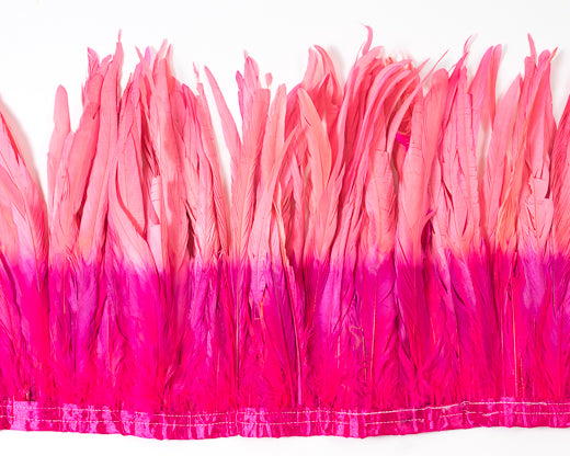 Hot Pink and Coral Cocktail Feathers 12 inches by the Yard