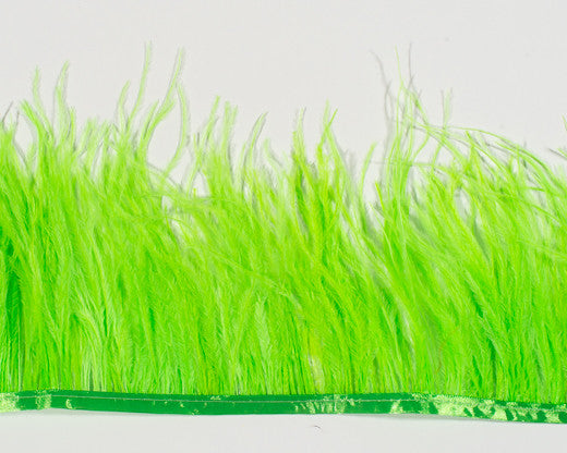 Lime Ostrich Fringe Feathers by the Yard