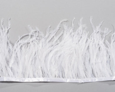 White Ostrich Fringe Feather by the Yard
