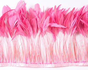Hot Pink Stripped Cocktail Feathers 8-10 inches by the Yard