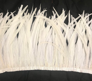 Rooster Cocktail Feathers, Snow White, 10-12 inches, by the Yard