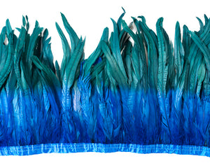 Royal and Teal Cocktail Feathers 12 inches by the Yard