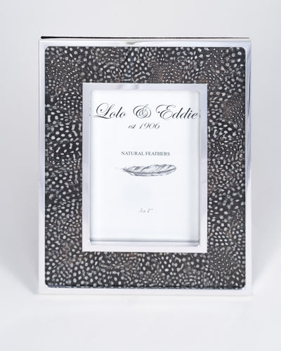 Guinea Fowl Feather and Glass Picture Frame