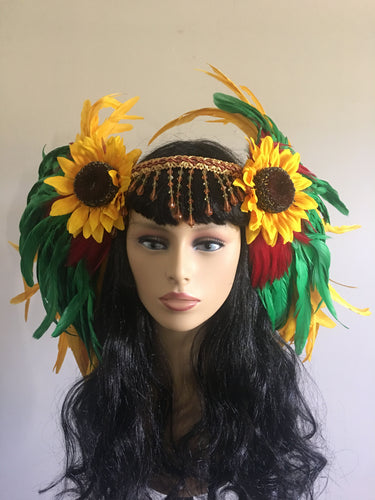 Large Sunflower Feather Headpiece