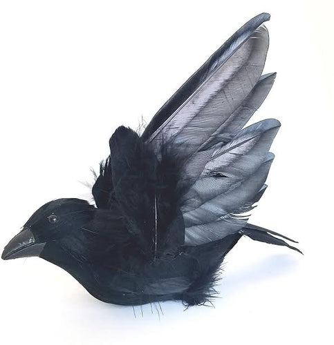 2pc, Artificial Crows, 7 1/2 inch flying crow prop, Halloween Decorations, per 3 crows