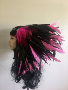 Large Pink and Black Feather Headpiece