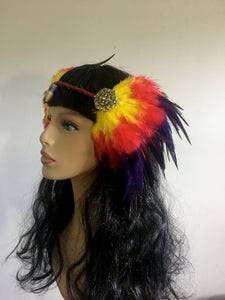 Yellow Red Black Feather Headpiece