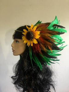 Green Sunflower Headpiece