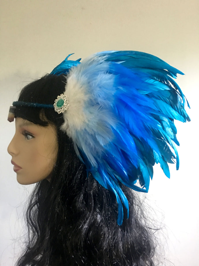 Sky Blue Feather Headpiece