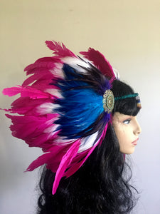 Pink and Blue Feather Headpiece