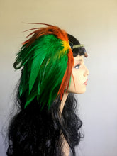 Green Orange Feather Headpiece