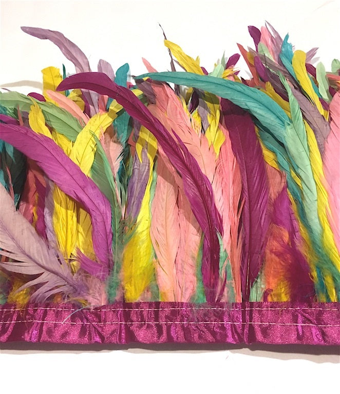 Rooster Feathers, Rainbow Pastel Cocktails, 12 inch by the yard