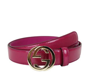 Gucci Buckle Interlocking G Belt 114874 (100 / 40, Fuchsia Patent Leather 5523)